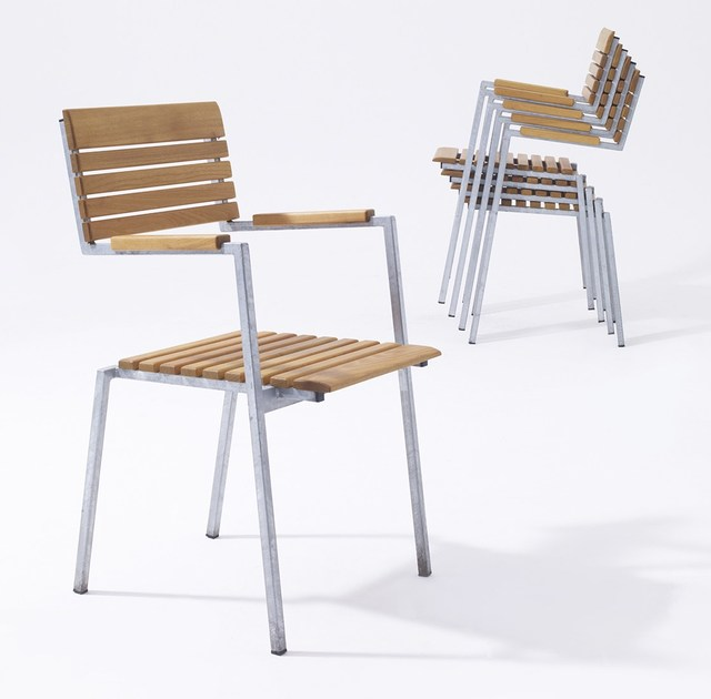 Steel and wood garden chair with armrests ROBIN | Garden chair by sixay furniture