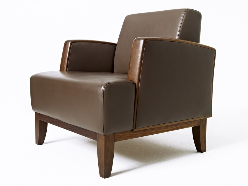 Upholstered leather armchair with armrests MAMMA | Upholstered armchair by sixay furniture