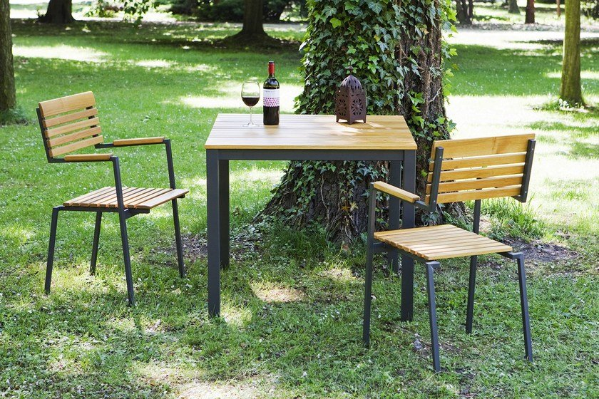 Square steel and wood garden table ROBIN | Garden table by sixay furniture