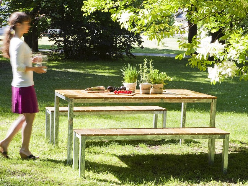 Rectangular steel and wood garden table ROBIN | Rectangular table by sixay furniture