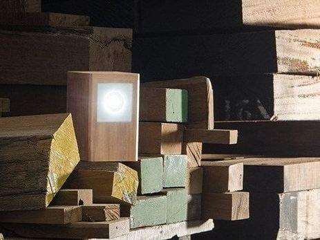 Teak Floor lamp LEGNO STYLE 60Q POST by Lombardo