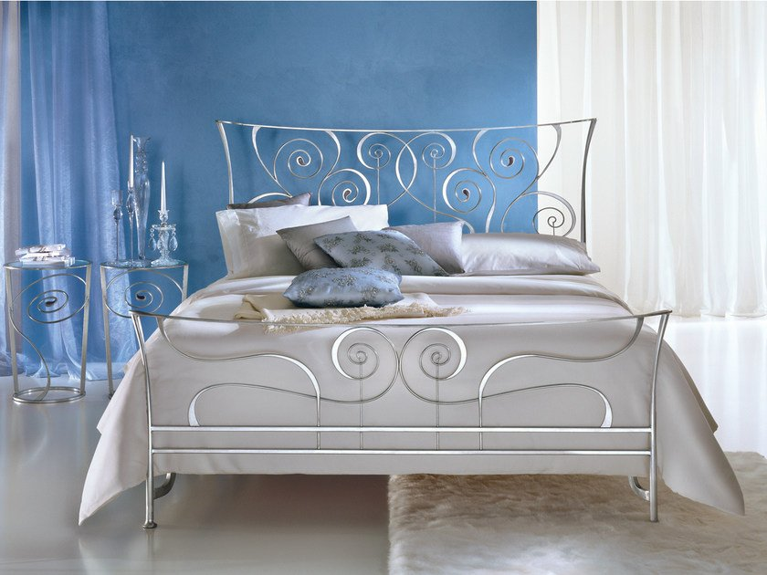 Silver leaf double bed BRIGITTE | Silver leaf bed by CIACCI