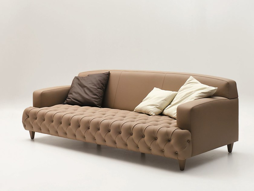 Tufted 3 seater leather sofa CHARLES | Sofa by CIACCI