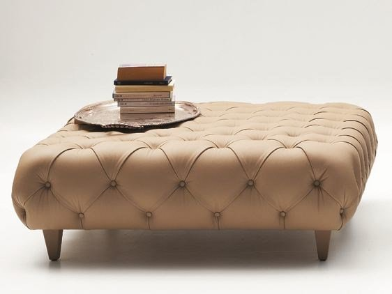 Tufted square leather pouf CHARLES | Pouf by CIACCI