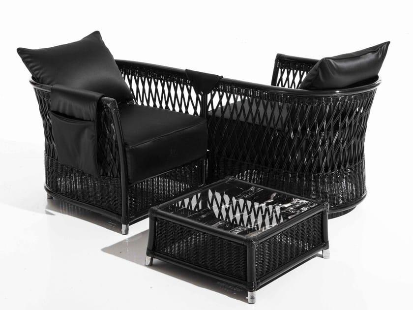 Woven wicker garden armchair with armrests VEGA | Garden armchair by Samuele Mazza by DFN