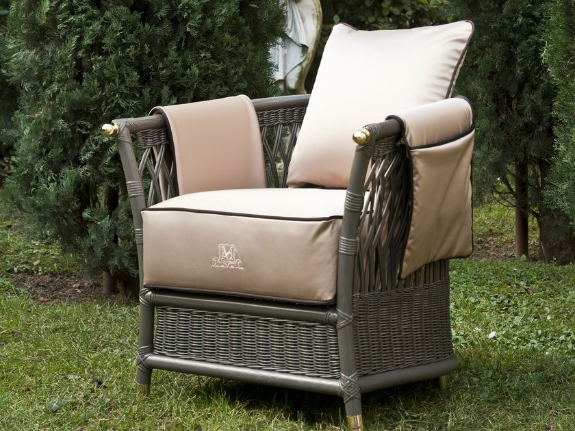Garden armchair with removable cover with armrests VEGA | Garden armchair by Samuele Mazza by DFN