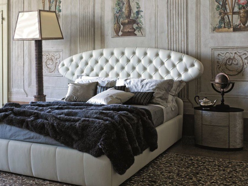 Leather double bed with tufted headboard DOLCEVITA by CIACCI