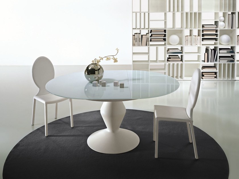 Extending round crystal table MICHELANGELO by CIACCI