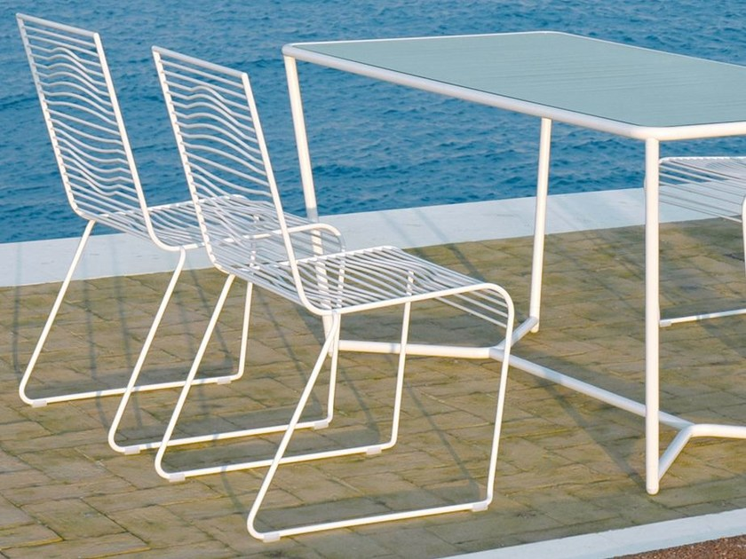 Stackable powder coated steel garden chair GRID | Garden chair by CIACCI