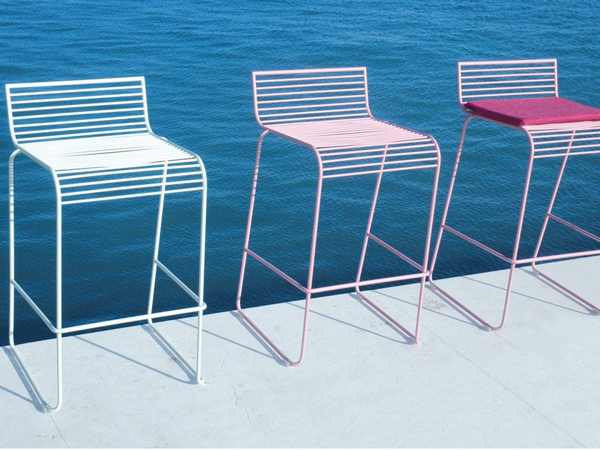 High powder coated steel garden stool GRID | Garden stool by CIACCI