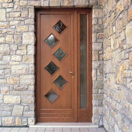 Porta d\'ingresso in legno per esterno con pannelli in vetro Porta d ...