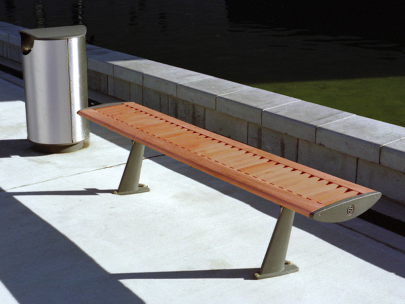 Aluminium and wood Bench FOIL WOOD by Factory Furniture