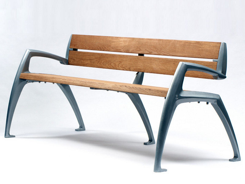 Aluminium and wood Bench with back MANTIS by Factory Furniture