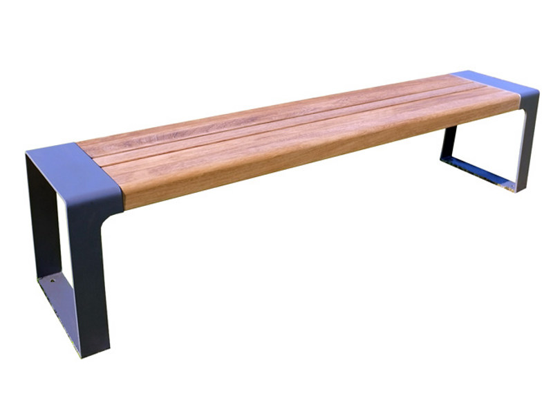Backless steel and wood Bench MURTON | Bench by Factory Furniture
