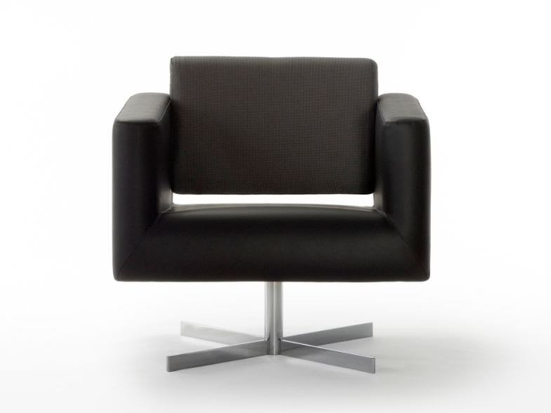 Upholstered armchair with 4-spoke base with armrests ORBIS | Armchair with 4-spoke base by ROSSIN