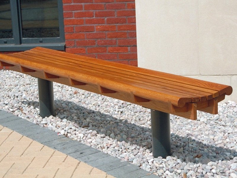 Backless wooden Bench SCROLL by Factory Furniture