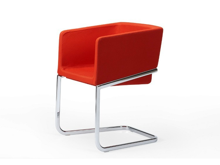 Cantilever easy chair with armrests TONIC METAL | Cantilever easy chair by ROSSIN