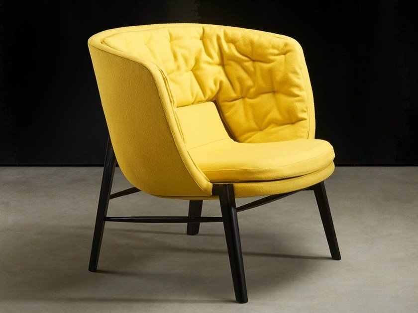 Upholstered armchair with armrests CLEO | Armchair by ROSSIN