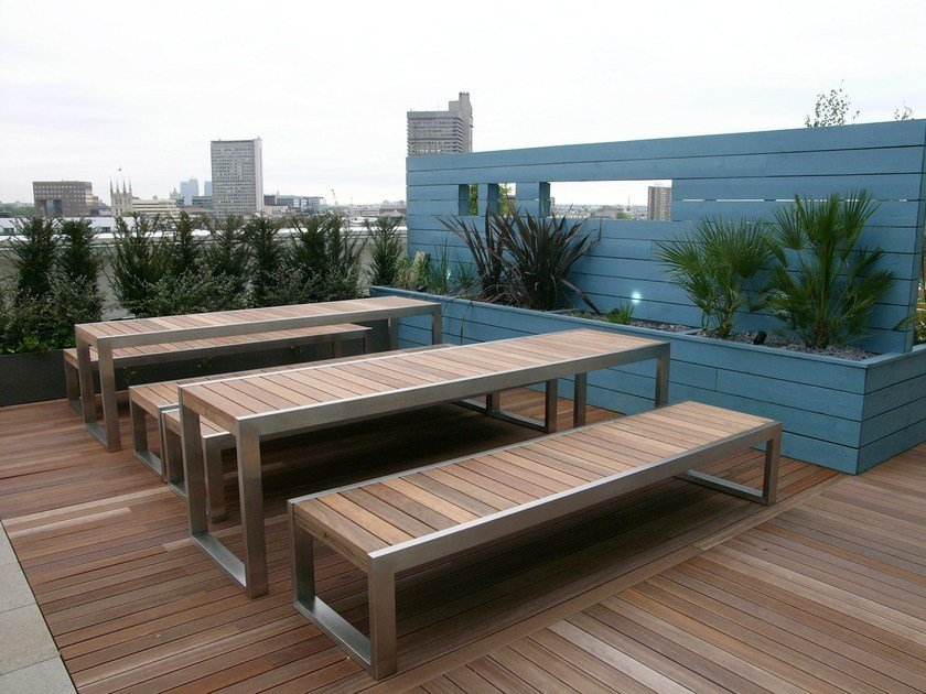Stainless steel and wood Bench SKOP | Bench by Factory Furniture