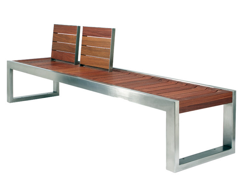 Stainless steel and wood Bench with back SKOP | Bench with back by Factory Furniture