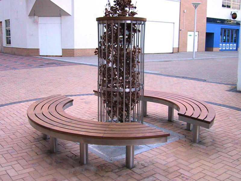 Curved stainless steel and wood Bench TREE ACCESS by Factory Furniture
