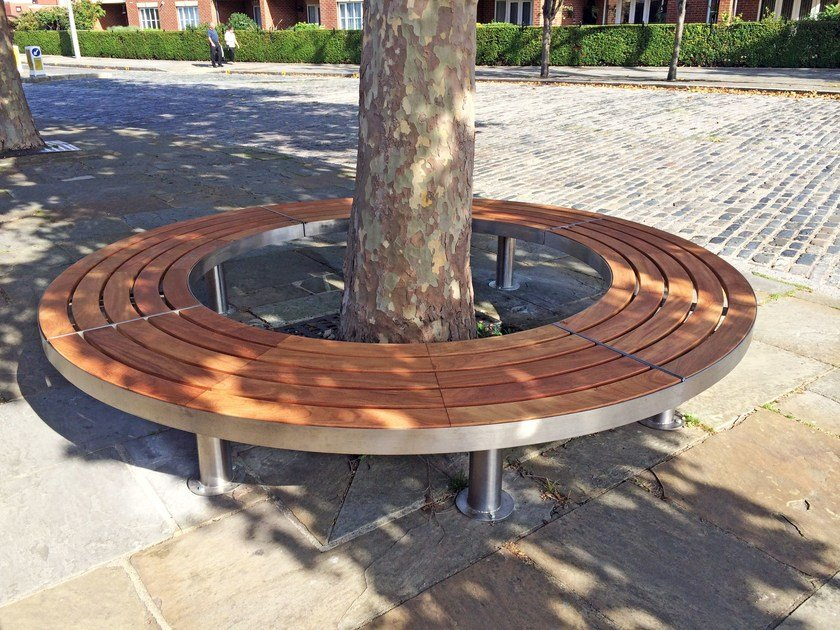 Stainless steel and wood Bench TREE FULL | Curved Bench by Factory Furniture