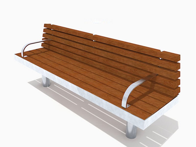Stainless steel and wood Bench with armrests TREE STRAIGHT | Bench with armrests by Factory Furniture