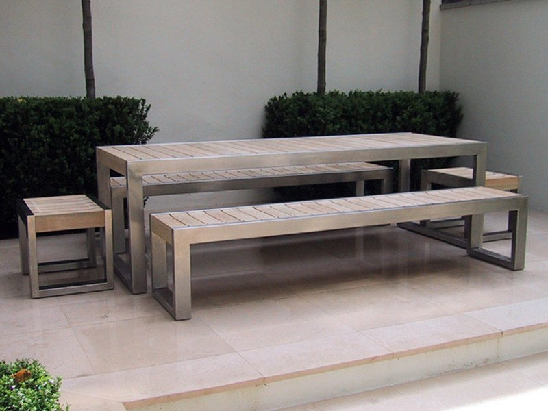 Stainless Steel And Wood Table For Public Areas Skop By Factory