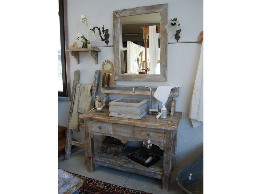 Mueble bajo lavabo de pie de madera con cajones vintage by - Mueble lavabo con pie ...