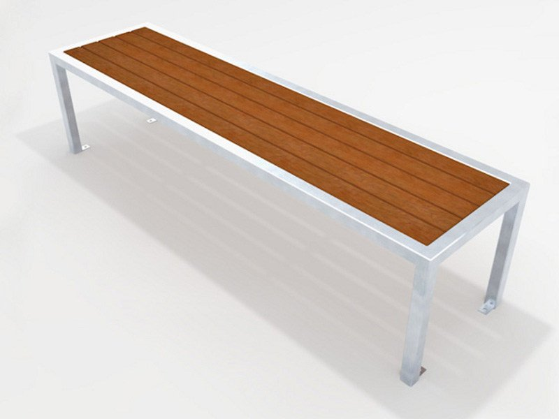 Backless steel and wood Bench UTIL | Backless Bench by Factory Furniture
