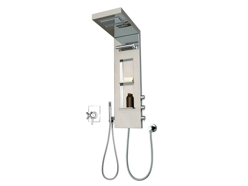 Multifunction shower panel with overhead shower YORK PANEL by Bossini