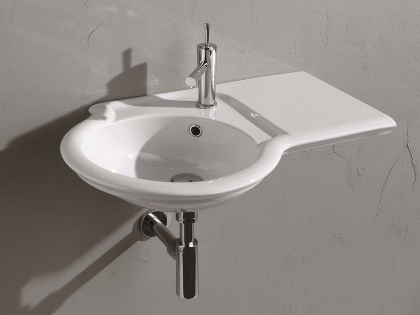 Wall-mounted washbasin with integrated countertop FEDERICA | Wall-mounted washbasin by Olympia Ceramica