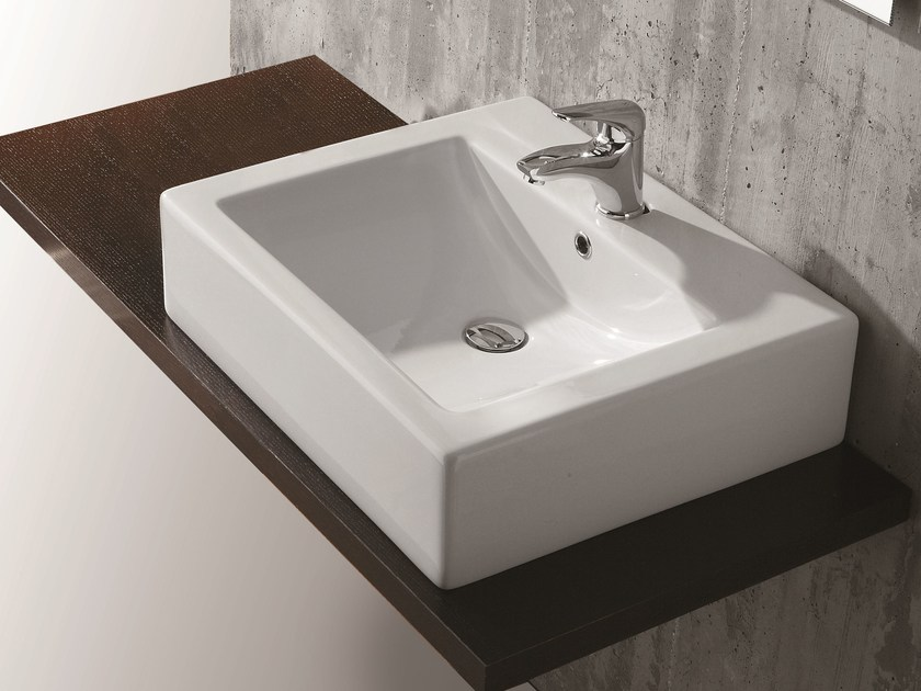 Countertop rectangular washbasin SARAH by Olympia Ceramica