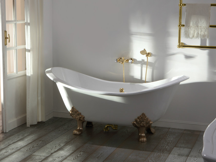 Vasca Da Bagno Ghisa Con Piedini : Vasca da bagno in stile cleopatra bianca nera con piedi a zampa