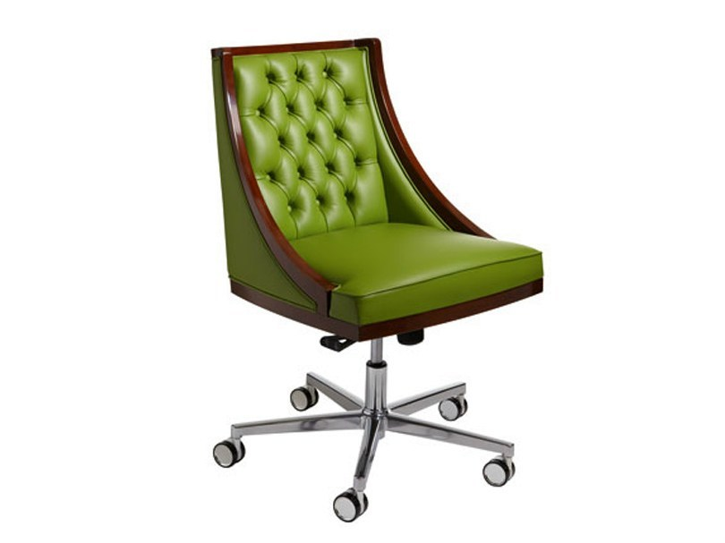 Tufted leather easy chair with 5-spoke base with casters BOSS by SELVA