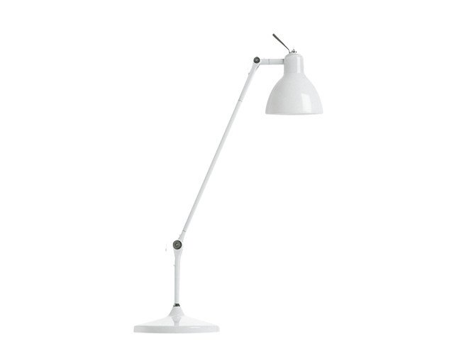 With swing arm glass and steel table lamp LUXY T1 by Rotaliana