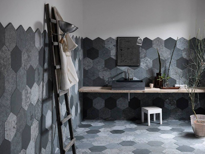 Natural stone wall tiles AZUL ORIGAMI   Natural stone wall tiles by Artesia