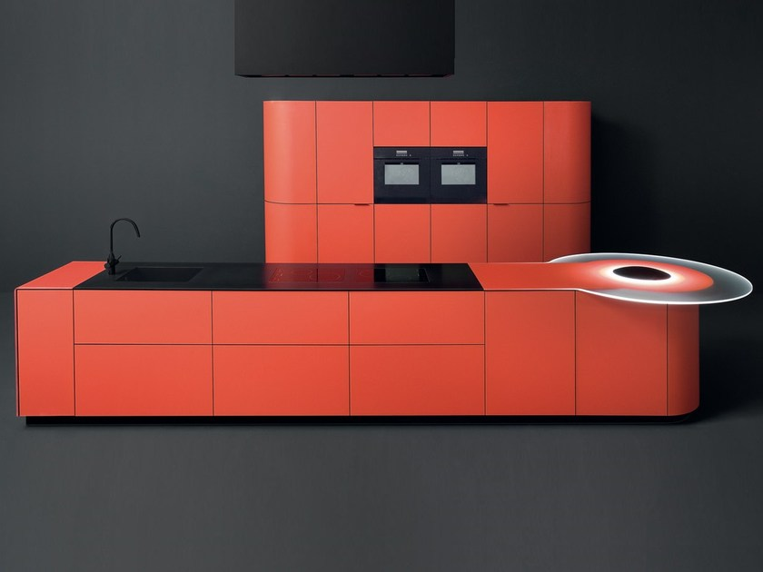Lacquered tempered glass kitchen with island ARGENTO VIVO by GD Arredamenti
