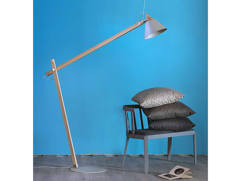 Direct light adjustable wooden floor lamp with swing arm SLOPE | Floor lamp with swing arm by Miniforms