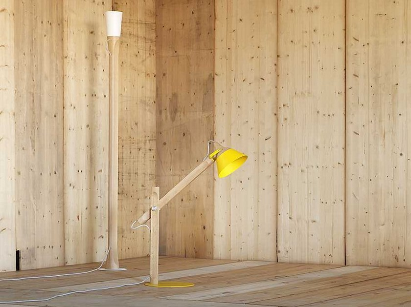 Wooden floor lamp SLOPE | Floor lamp by Miniforms