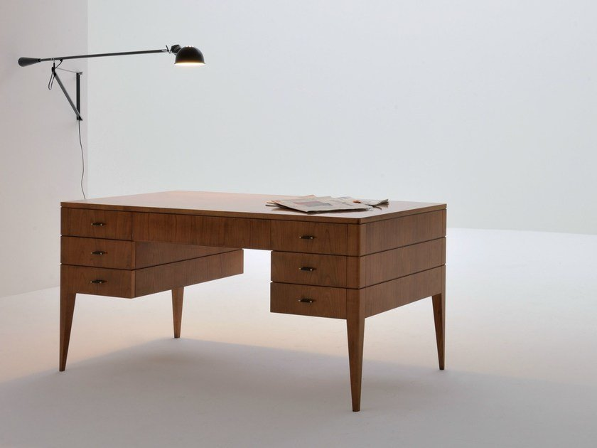 Cherry wood writing desk with drawers FLAMINIA | Writing desk by Morelato
