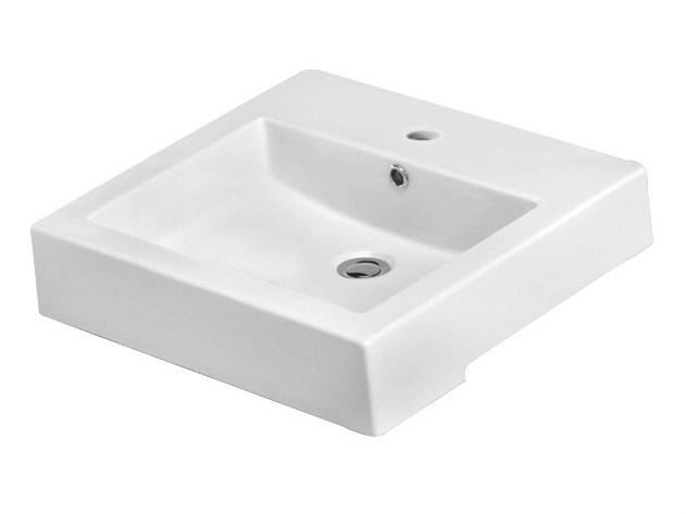 Semi-inset rectangular washbasin FLY by Olympia Ceramica