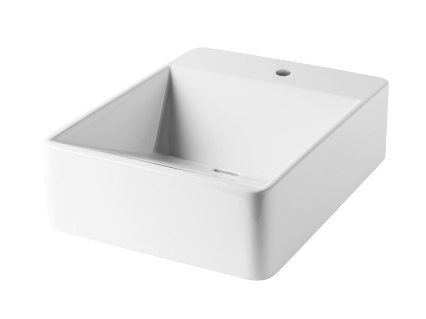 Rectangular wall-mounted washbasin CRYSTAL | Rectangular washbasin by Olympia Ceramica