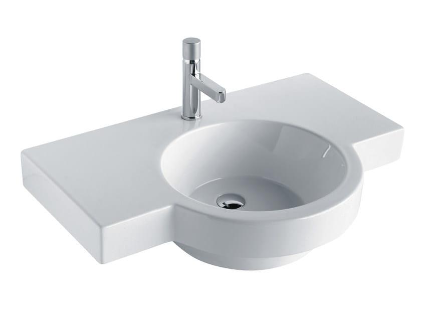 Washbasin with integrated countertop TUTTO EVO | Washbasin with integrated countertop by Olympia Ceramica