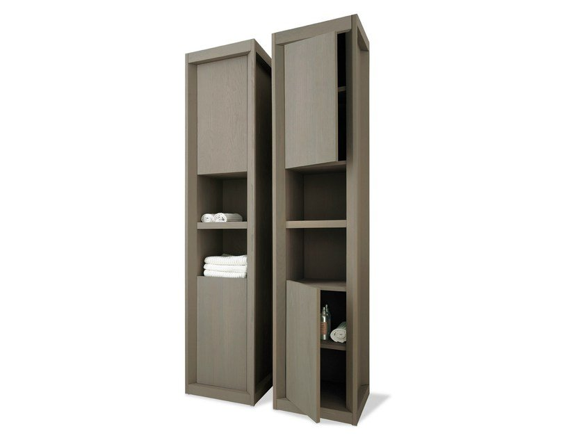 Tall ash bathroom cabinet with doors VISONE | Tall bathroom cabinet by GD Arredamenti