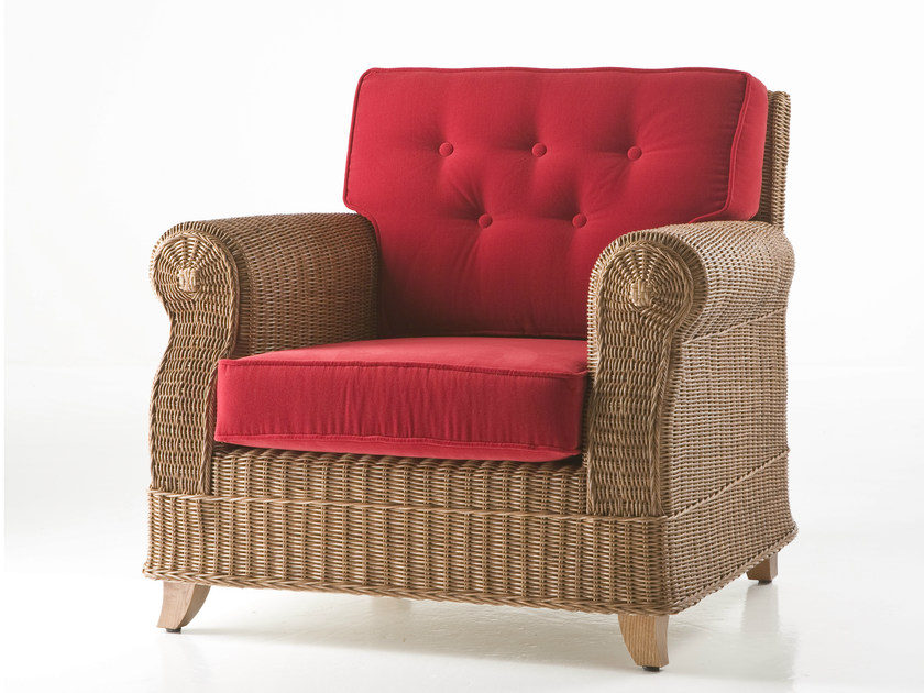 Woven wicker armchair with armrests ROYAL   Armchair by Dolcefarniente