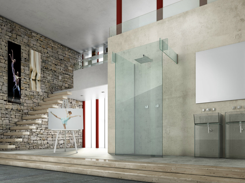 Glass shower cabin ICONA SEPARÈ WALL by MEGIUS