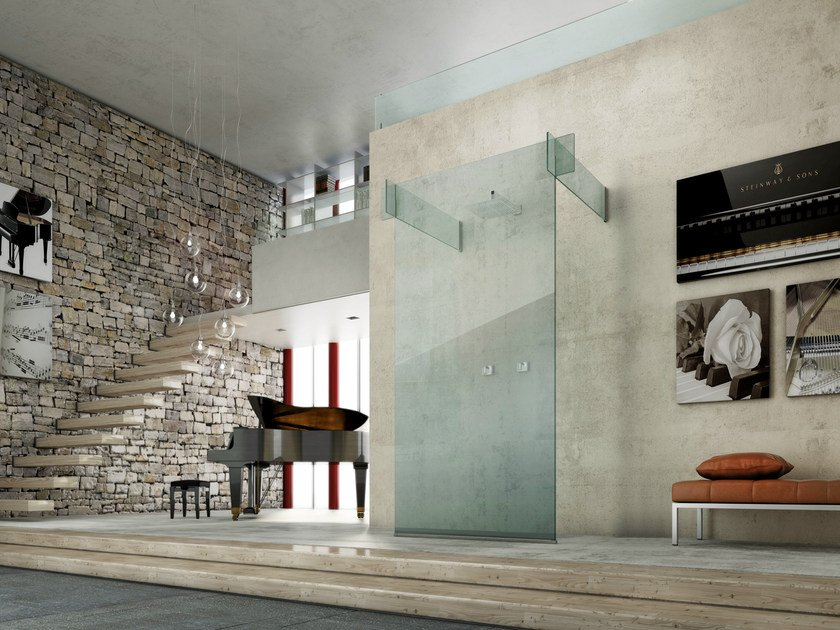 Glass shower cabin ICONA SEPARÈ WALL by MEGIUS