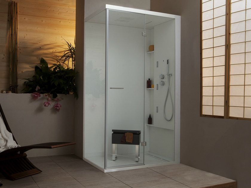 Corner multifunction shower cabin with hinged door WELLDREAM | Corner shower cabin by MEGIUS