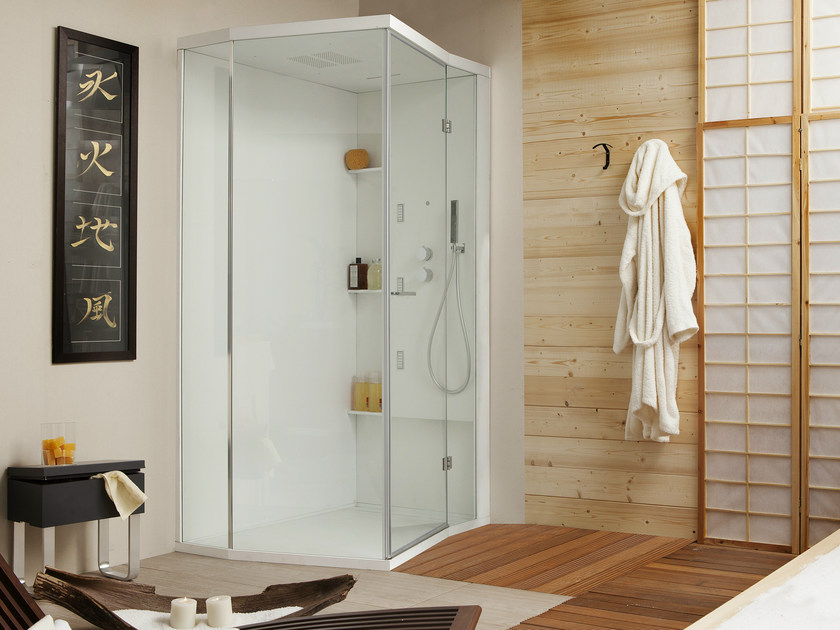 Corner shower cabin with hinged door for chromotherapy WELLDREAM | Shower cabin for chromotherapy by MEGIUS